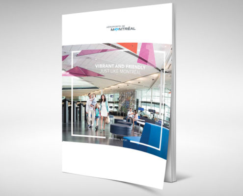 Aéroports de Montréal http://www.admtl.com/ communication corporative, rapport annuel, design de rapport annuel, stratégique de communication corporative, annual report design, corporate communication,
